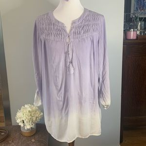 Bandolino Ombre Purple Top Blouse Roll Tab Sleeve